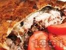 Рецепта Рибник от тесто с шаран, орехи, лук, магданоз, босилек и копър на фурна за Никулден